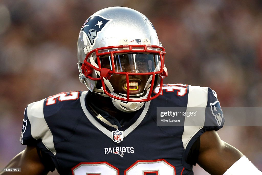 <a gi-track='captionPersonalityLinkClicked' href=/galleries/search?phrase=Devin+McCourty&family=editorial&specificpeople=4510365 ng-click='$event.stopPropagation()'>Devin McCourty</a> #32 of the New England Patriots reacts after a defensive stop in the first quarter against the Green Bay Packers during a preseason game at Gillette Stadium on August 13, 2015 in Foxboro, Massachusetts.
