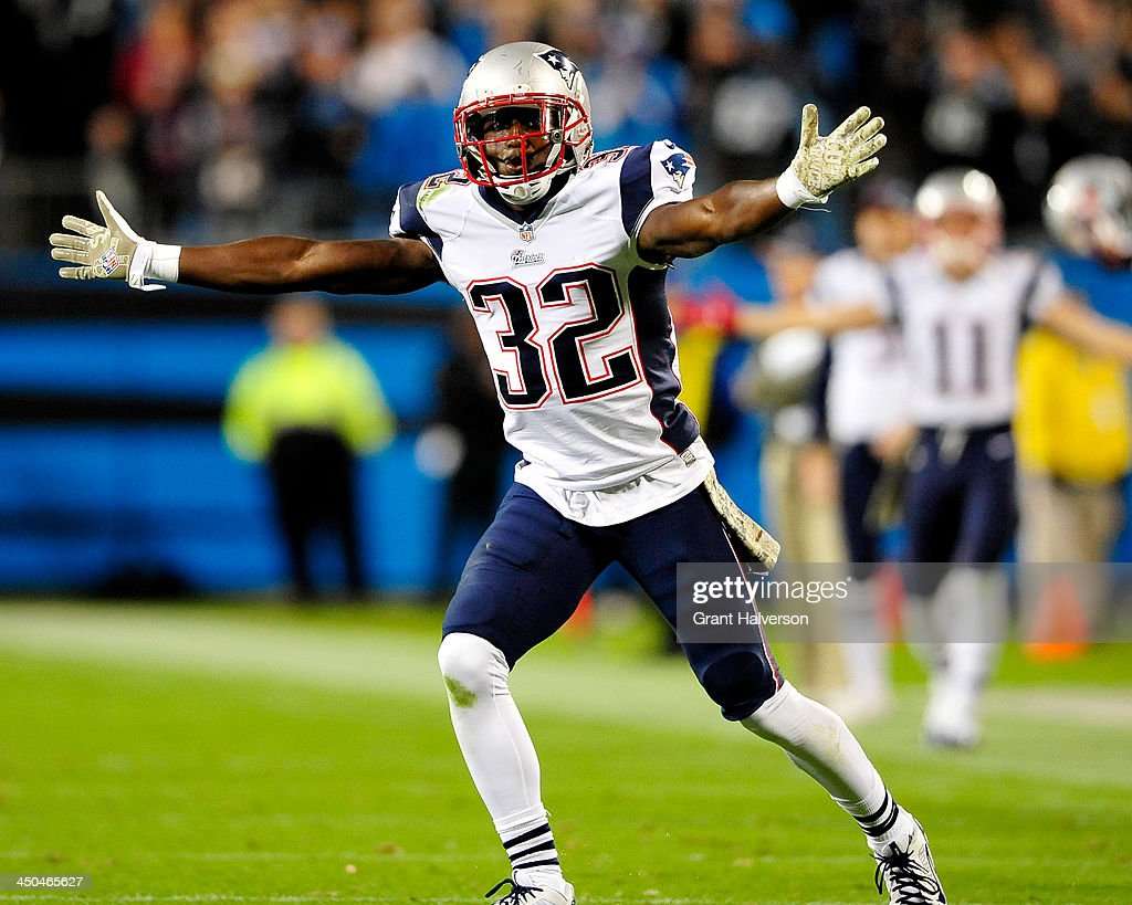 <a gi-track='captionPersonalityLinkClicked' href=/galleries/search?phrase=Devin+McCourty&family=editorial&specificpeople=4510365 ng-click='$event.stopPropagation()'>Devin McCourty</a> #32 of the New England Patriots reacts after being called for defensive holding late in the fourth qurter of a loss to the Carolina Panthers at Bank of America Stadium on November 18, 2013 in Charlotte, North Carolina. The Panthers won 24-20.