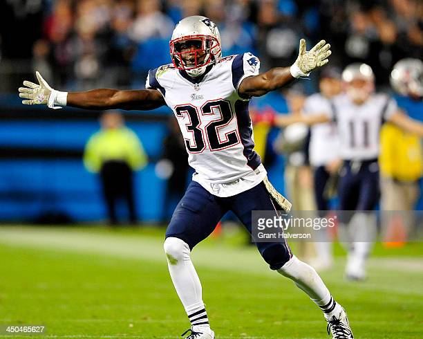 Devin McCourty of the New England Patriots reacts after being called for defensive holding late in the fourth qurter of a loss to the Carolina...