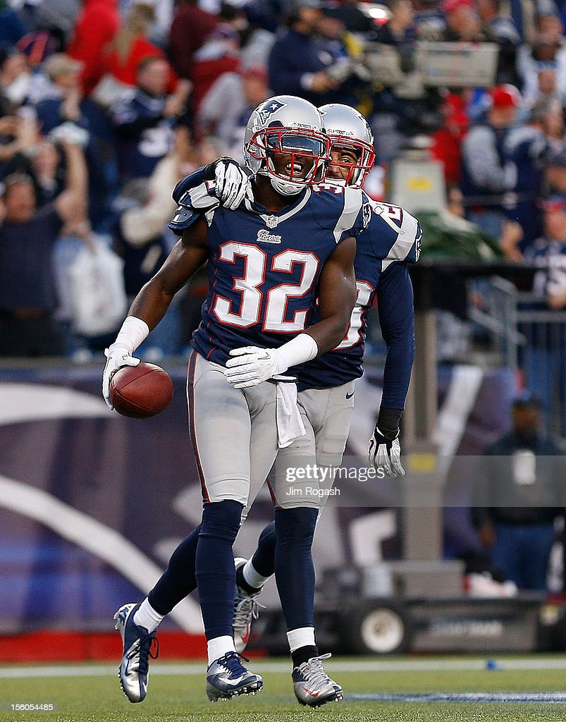 <a gi-track='captionPersonalityLinkClicked' href=/galleries/search?phrase=Devin+McCourty&family=editorial&specificpeople=4510365 ng-click='$event.stopPropagation()'>Devin McCourty</a> #32 of the New England Patriots reacts after he intercepted a pass with less than a minute left to give the Patriots a win against the Buffalo Bills at Gillette Stadium on November 11, 2012 in Foxboro, Massachusetts.
