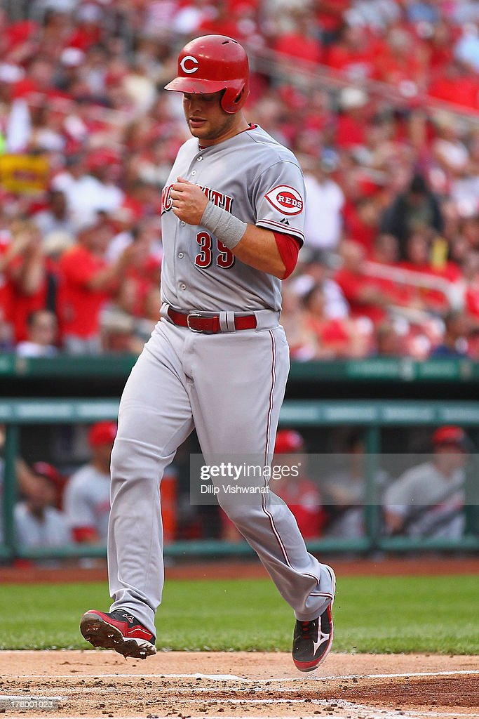 <a gi-track='captionPersonalityLinkClicked' href=/galleries/search?phrase=Devin+Mesoraco&family=editorial&specificpeople=5745587 ng-click='$event.stopPropagation()'>Devin Mesoraco</a> #39 of the Cincinnati Reds scores a run against the St. Louis Cardinals in the second inning at Busch Stadium on August 26, 2013 in St. Louis, Missouri.