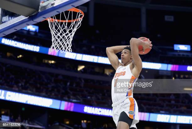 Devin Robinson of the Florida Gators dunks the ball against the East Tennessee State Buccaneers during the first round of the 2017 NCAA Men's...