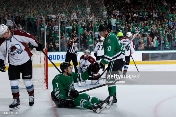 Devin Shore and Cody Eakin of the Dallas Stars celebrate a goal against the Colorado Avalanche at the American Airlines Center on April 8 2017 in...