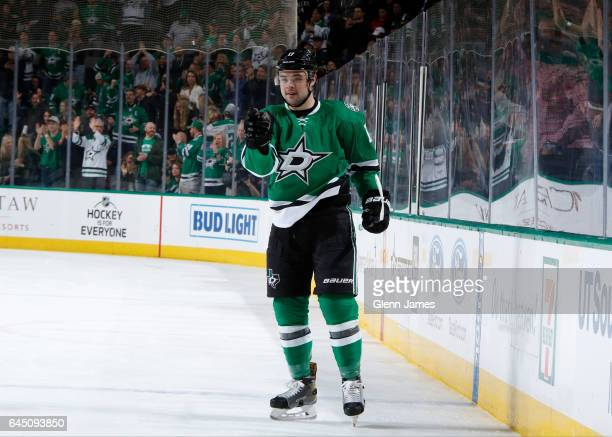 Devin Shore of the Dallas Stars celebrates a goal against the Arizona Coyotes at the American Airlines Center on February 24 2017 in Dallas Texas