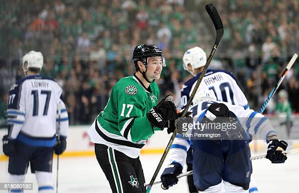 Devin Shore of the Dallas Stars celebrates after assisting on a goal against the Winnipeg Jets in the first period at American Airlines Center on...
