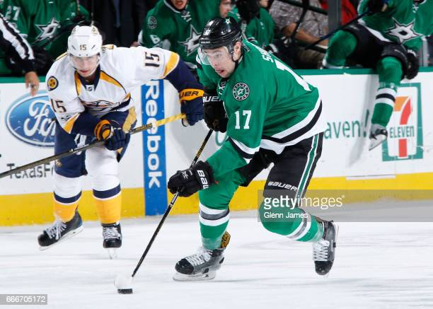 Devin Shore of the Dallas Stars handles the puck against the Nashville Predators at the American Airlines Center on April 6 2017 in Dallas Texas