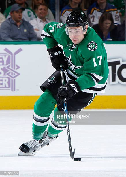 Devin Shore of the Dallas Stars handles the puck against the St Louis Blues at the American Airlines Center on November 3 2016 in Dallas Texas