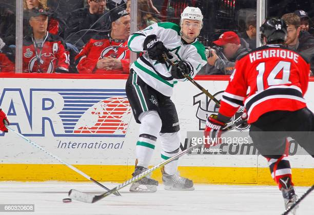 Devin Shore of the Dallas Stars in action against the New Jersey Devils on March 26 2017 at Prudential Center in Newark New Jersey The Stars defeated...