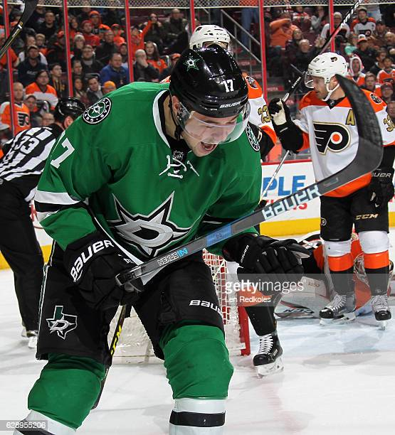 Devin Shore of the Dallas Stars reacts after scoring a third period goal against the Philadelphia Flyers on December 10 2016 at the Wells Fargo...