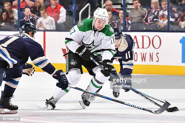 Devin Shore of the Dallas Stars skates against the Columbus Blue Jackets on November 1 2016 at Nationwide Arena in Columbus Ohio