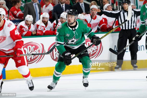 Devin Shore of the Dallas Stars skates against the Detroit Red Wings at the American Airlines Center on October 10 2017 in Dallas Texas