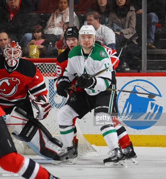 Devin Shore of the Dallas Stars skates against the New Jersey Devils at the Prudential Center on March 26 2017 in Newark New Jersey The Stars...