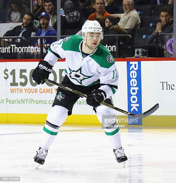 Devin Shore of the Dallas Stars skates against the New York Islanders at the Barclays Center on January 19 2017 in the Brooklyn borough of New York...