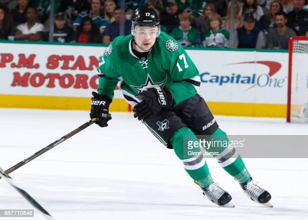 Devin Shore of the Dallas Stars skates against the San Jose Sharks at the American Airlines Center on March 24 2017 in Dallas Texas