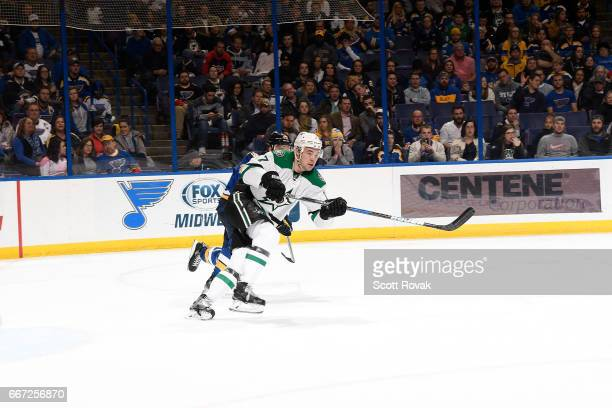Devin Shore of the Dallas Stars skates against the St Louis Blues at the Scottrade Center on November 28 2016 in St Louis Missouri