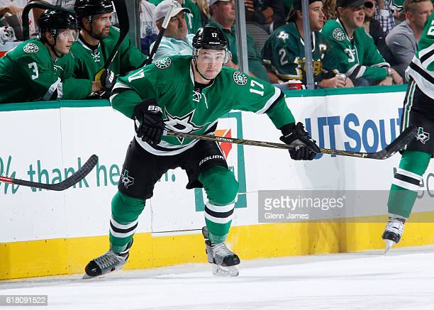 Devin Shore of the Dallas Stars skates against the Winnipeg Jets at the American Airlines Center on October 25 2016 in Dallas Texas
