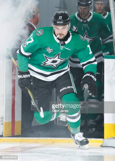 Devin Shore of the Dallas Stars skates onto the ice against the Detroit Red Wings at the American Airlines Center on October 10 2017 in Dallas Texas