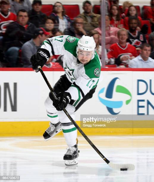 Devin Shore of the Dallas Stars snaps a wrister during an NHL game against the Carolina Hurricanes on April 1 2017 at PNC Arena in Raleigh North...
