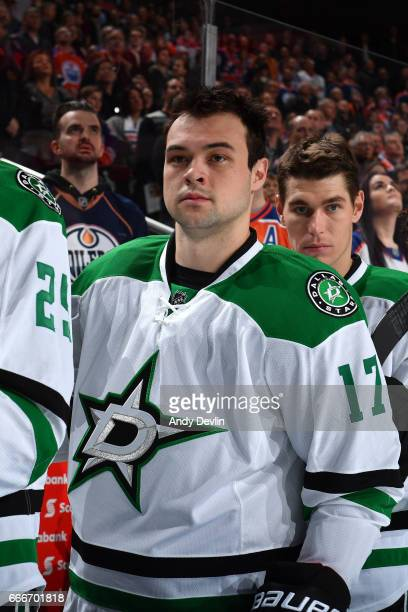 Devin Shore of the Dallas Stars stands for the singing of the national anthem prior to the game against the Edmonton Oilers on March 14 2017 at...