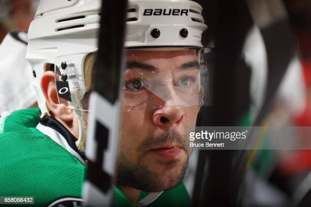 Devin Shore of the Dallas Stars waits for a shift against the New Jersey Devils at the Prudential Center on March 26 2017 in Newark New Jersey