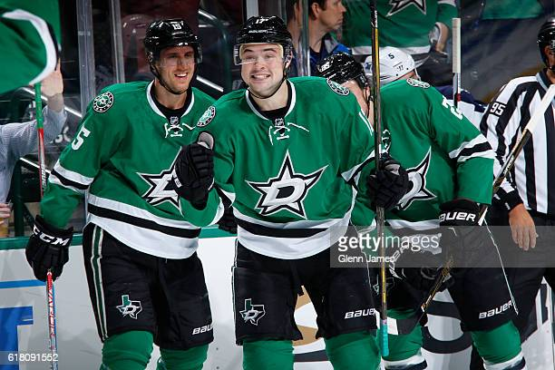 Devin Shore Patrik Nemeth Brett Ritchie and the Dallas Stars celebrates a goal against the Winnipeg Jets at the American Airlines Center on October...