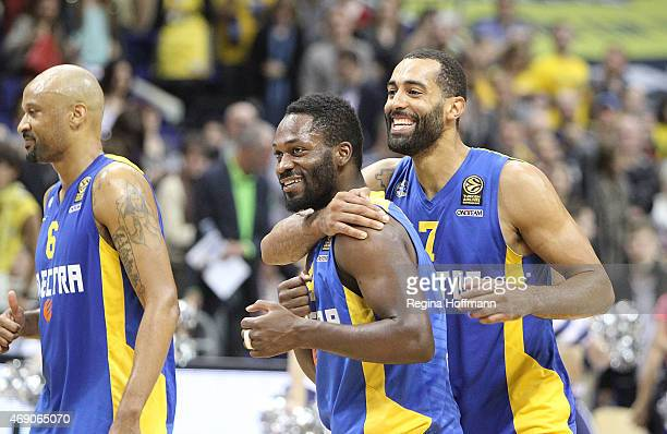 Devin Smith #6 Jeremy Pargo #4 and Brian Randle #7 of Maccabi Electra Tel Aviv celebrating after the Turkish Airlines Euroleague Basketball Top 16...
