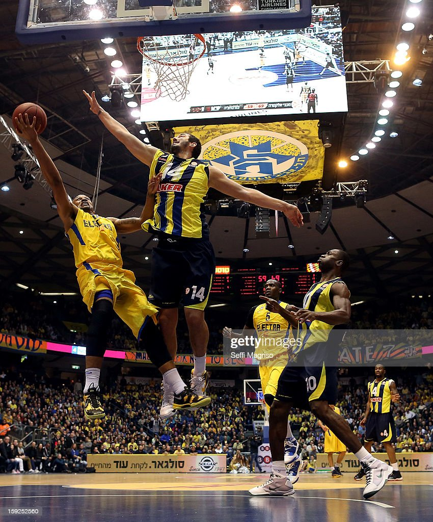 Devin Smith, #6 of Maccabi Electra Tel Aviv competes with Kaya Peker, #14 of Fenerbahce Ulker Istanbul during the 2012-2013 Turkish Airlines Euroleague Top 16 Date 3 between Maccabi Electra Tel Aviv v Fenerbahce Ulker Istanbul at Nokia Arena on January 10, 2013 in Tel Aviv, Israel.