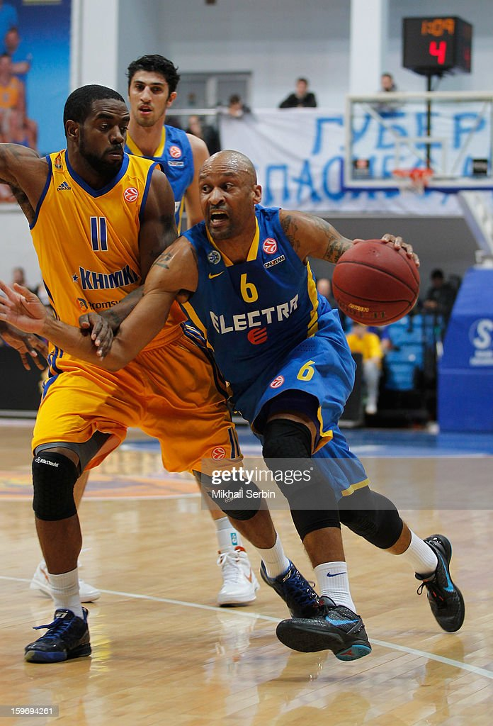 Devin Smith, #6 of Maccabi Electra Tel Aviv competes with Kelvin Rivers, #11 of BC Khimki Moscow Region in action during the 2012-2013 Turkish Airlines Euroleague Top 16 Date 4 between BC Khimki Moscow Region v Maccabi Electra Tel Aviv at Basketball Center of Moscow Region on January 18, 2013 in Moscow, Russia.