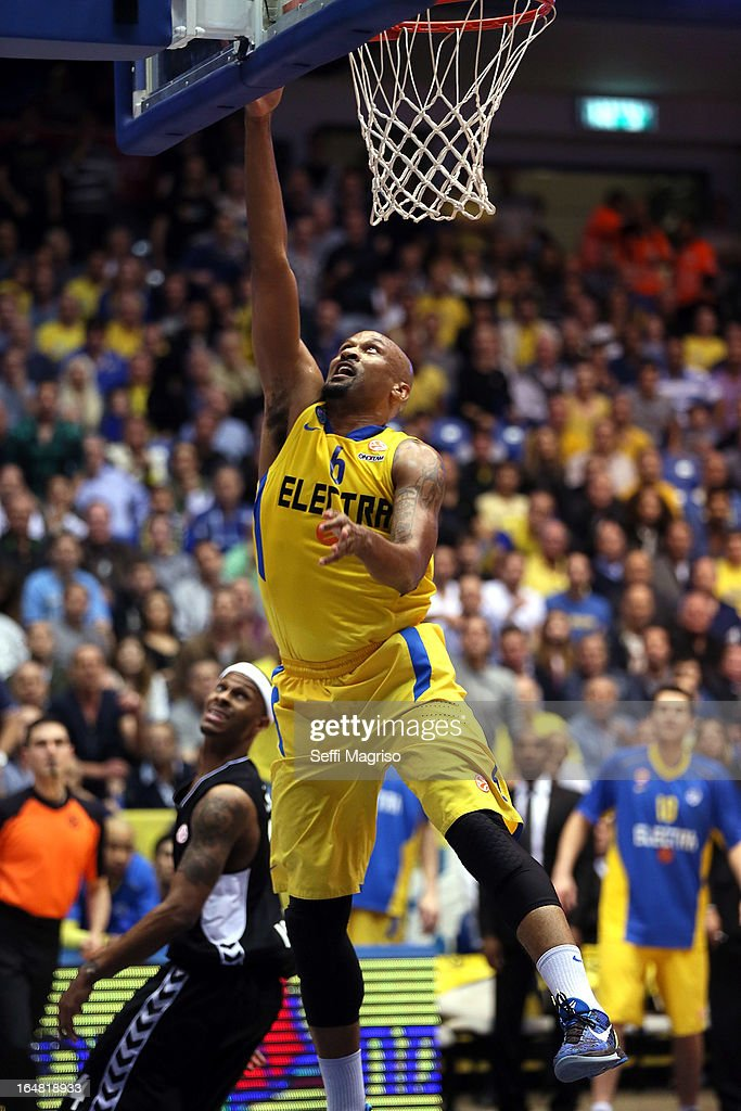 Devin Smith, #6 of Maccabi Electra Tel Aviv in action during the 2012-2013 Turkish Airlines Euroleague Top 16 Date 13 between Maccabi Electra Tel Aviv v Besiktas JK Istanbul at Nokia Arena on March 28, 2013 in Tel Aviv, Israel.