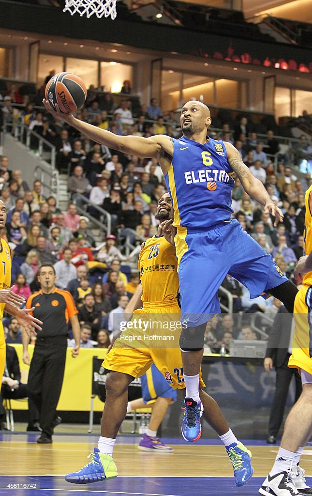 Devin Smith, #6 of Maccabi Electra Tel Aviv in action during the 2014-2015 Turkish Airlines Euroleague Basketball Regular Season Date 3 game between Alba Berlin v Maccabi Electra Tel Aviv at O2 World on October 30, 2014 in Berlin, Germany.