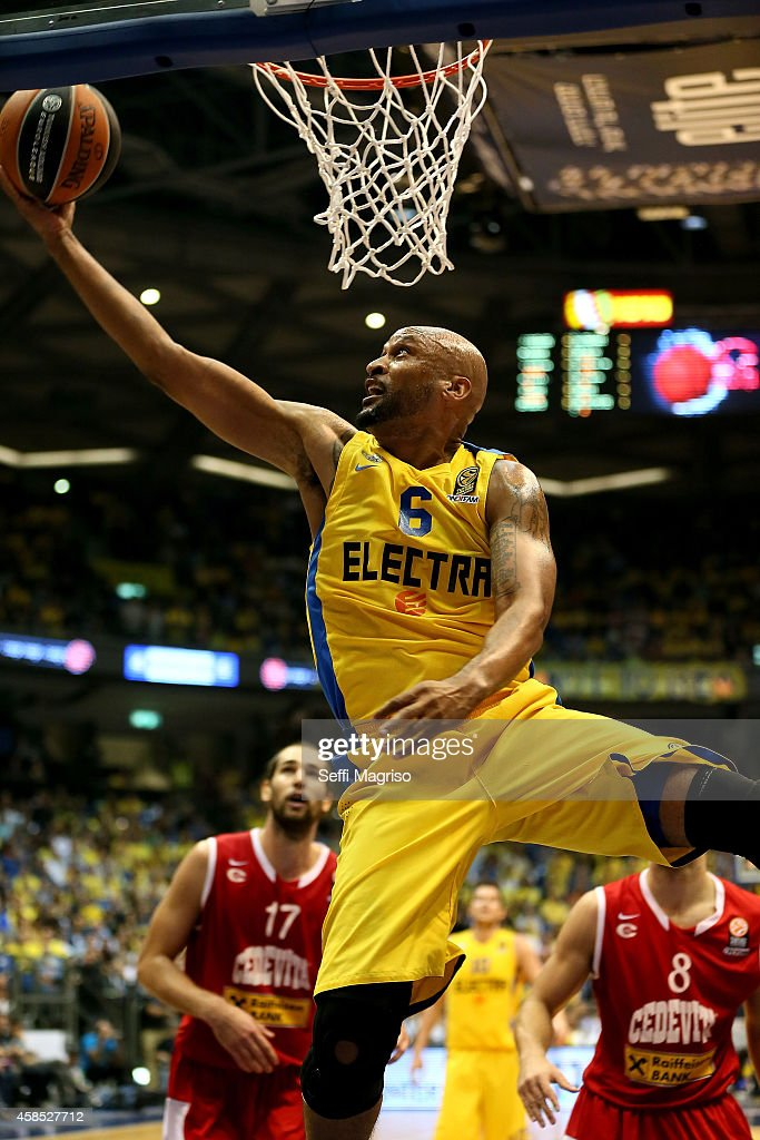 Devin Smith, #6 of Maccabi Electra Tel Aviv in action during the 2014-2015 Turkish Airlines Euroleague Basketball Regular Season Date 4 game between Maccabi Electra Tel Aviv v Cedevita Zagreb at Nokia Arena on November 6, 2014 in Tel Aviv, Israel.