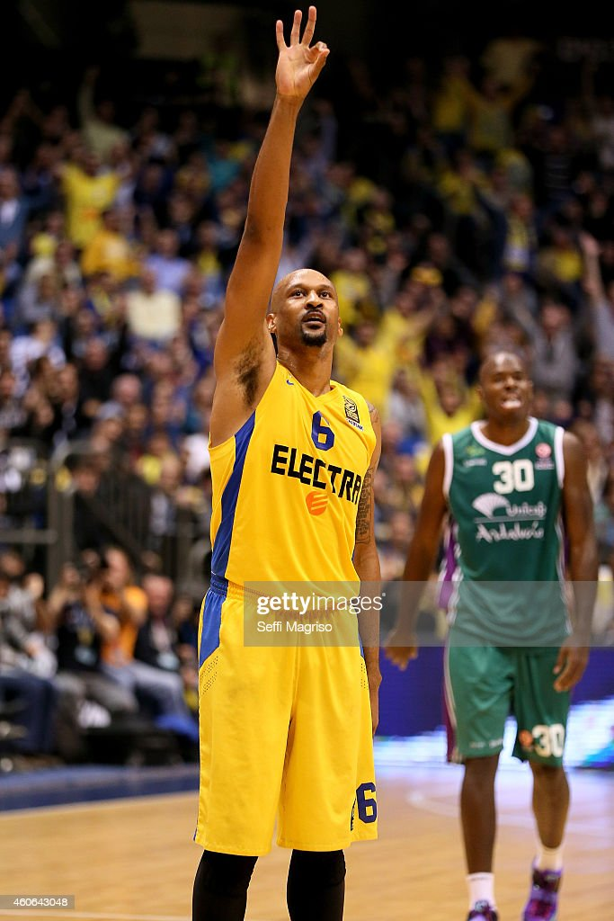 Devin Smith, #6 of Maccabi Electra Tel Aviv in action during the 2014-2015 Turkish Airlines Euroleague Basketball Regular Season Date 10 game between Maccabi Electra Tel Aviv v Unicaja Malaga at Nokia Arena on December 18, 2014 in Tel Aviv, Israel.