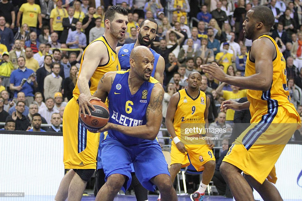 Devin Smith, #6 of Maccabi Electra Tel Aviv in action during the Turkish Airlines Euroleague Basketball Top 16 Date 14 game between Alba Berlin v Maccabi Electra Tel Aviv at O2 World on April 9, 2015 in Berlin, Germany.