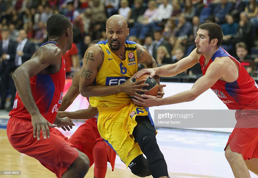 Devin Smith, #6 of Maccabi Fox Tel Aviv competes with Nando De Colo, #1 of CSKA Moscow during the Turkish Airlines Euroleague Basketball Regular Season Date 1 game CSKA Moscow v Maccabi Tel Aviv at USH CSKA on October 15, 2015 in Moscow, Russia.