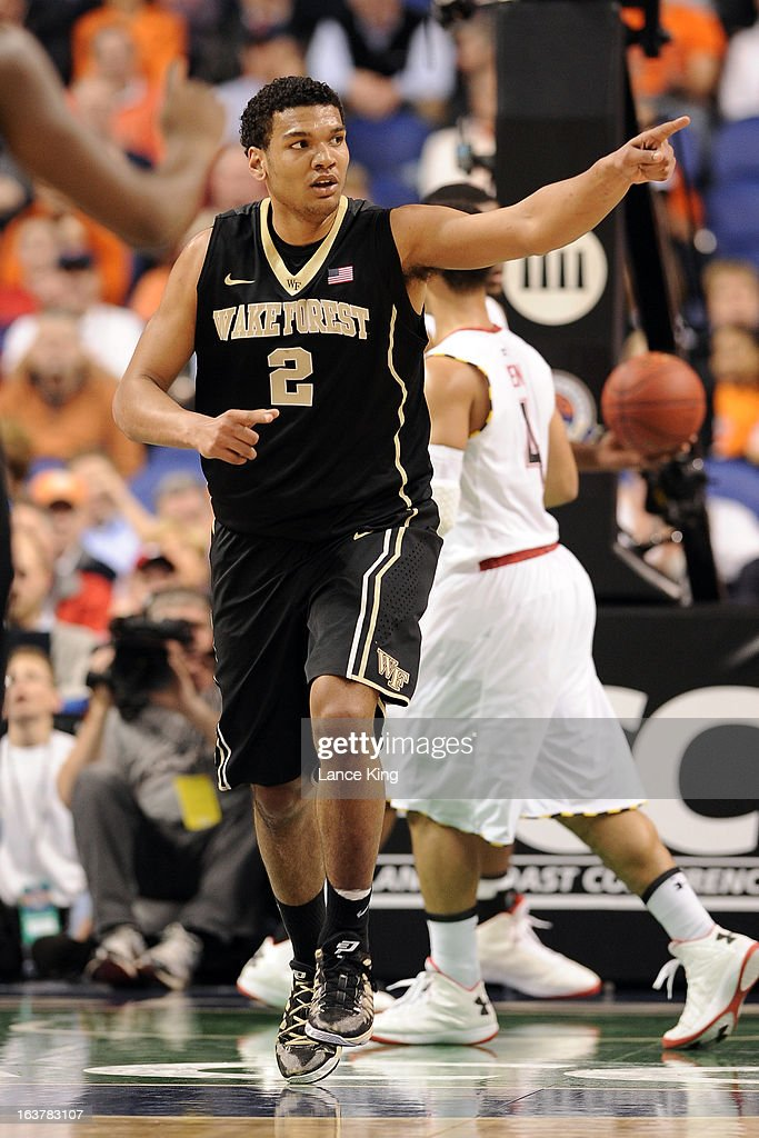 Devin Thomas #2 of the Wake Forest Demon Deacons points to a teammate against the Maryland Terrapins during the first round of the 2013 Men's ACC Tournament at the Greensboro Coliseum on March 14, 2013 in Greensboro, North Carolina. Maryland defeated Wake Forest 75-62.