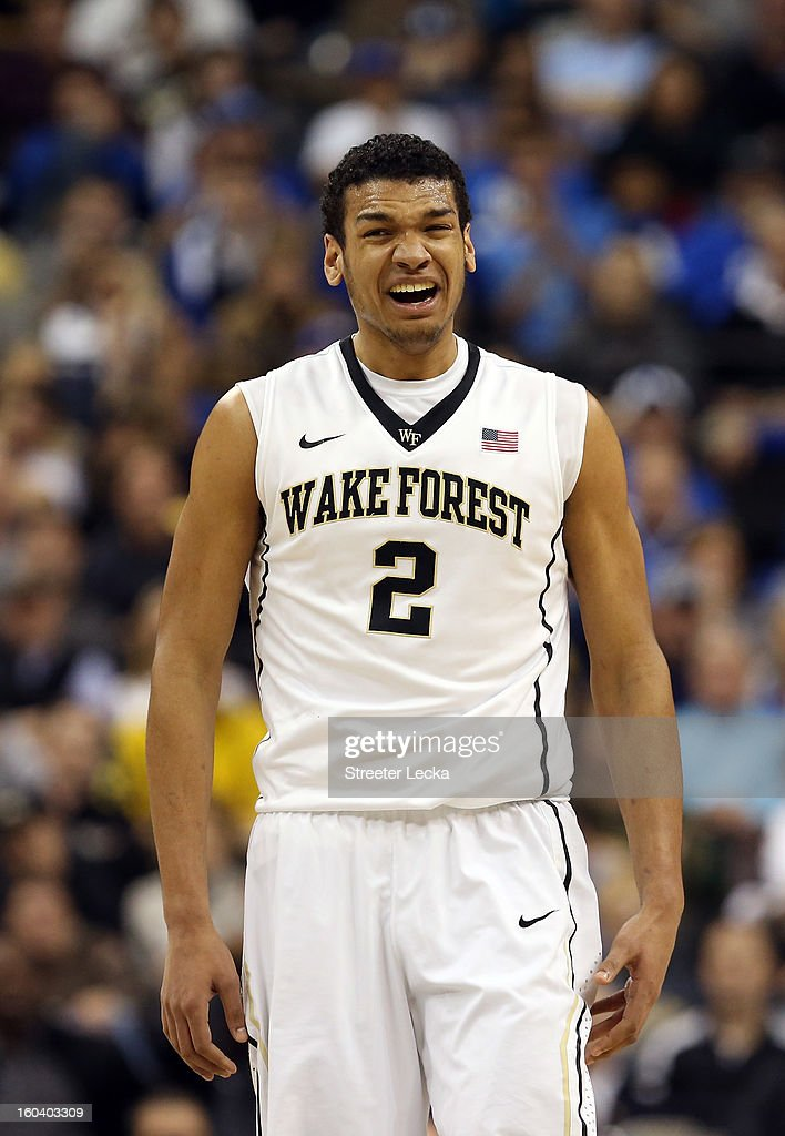 Devin Thomas #2 of the Wake Forest Demon Deacons reacts after a play during their game against the Duke Blue Devils at Lawrence Joel Coliseum on January 30, 2013 in Winston-Salem, North Carolina.