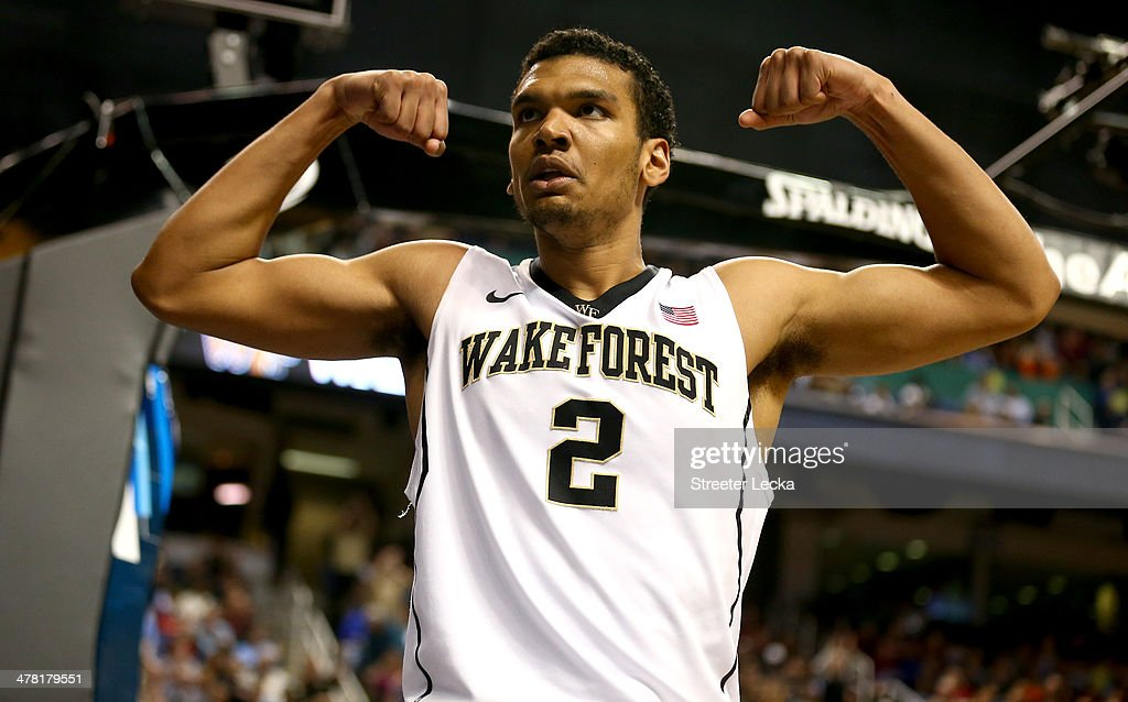 Devin Thomas of the Wake Forest Demon Deacons reacts against the Notre Dame Fighting Irish during the first round of the 2014 Men's ACC Basketball...