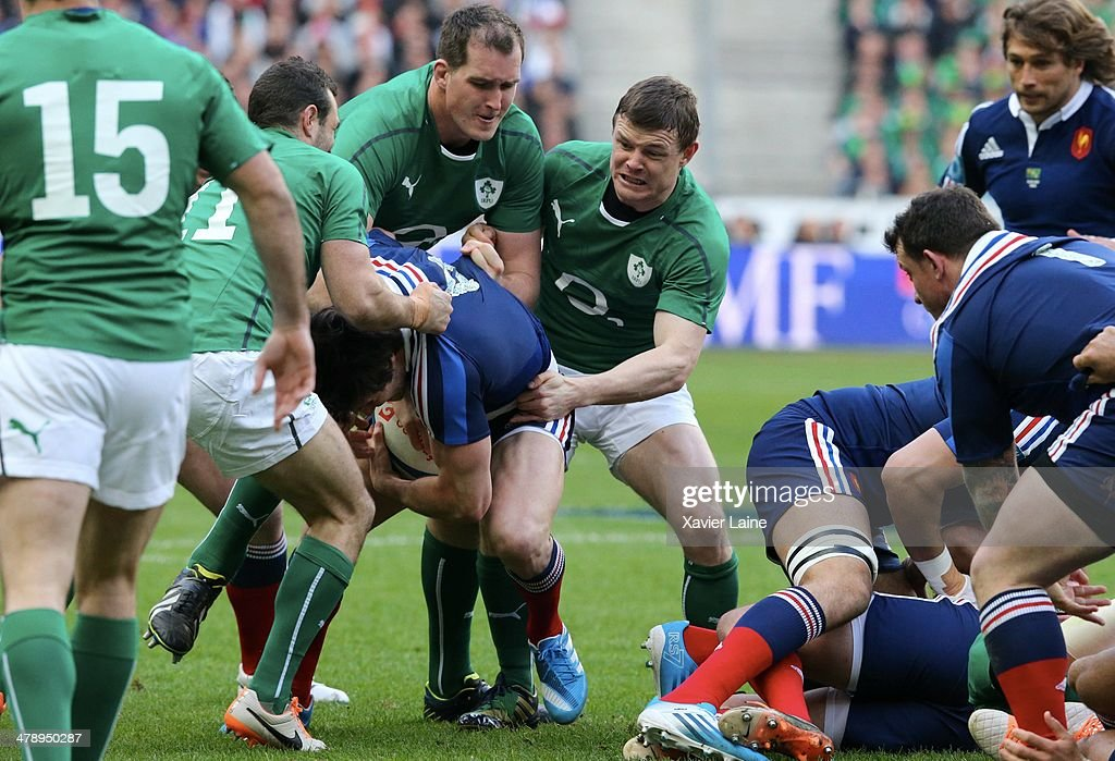 Devin Toner and Brian O'Driscoll during the RBS 6 Nations match between France and Ireland at Stade de France on march 15, 2014 in Paris, France.
