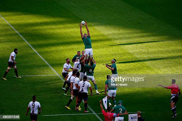 Devin Toner of Ireland claims a lineout during the 2015 Rugby World Cup Pool D match between Ireland and Romania at Wembley Stadium on September 27...