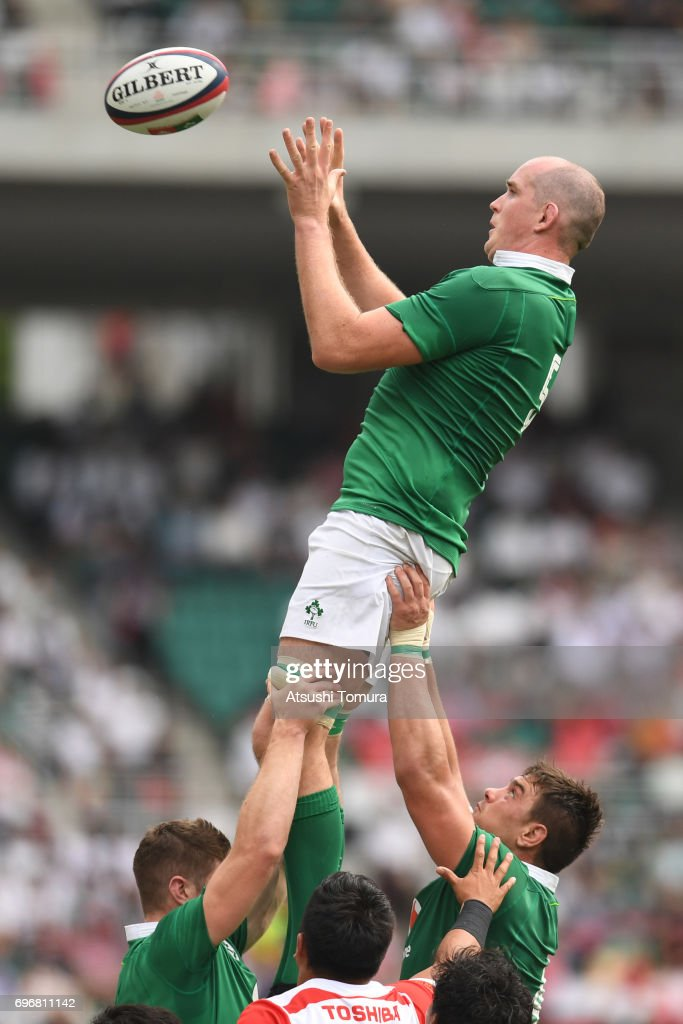 Devin Toner of Ireland reaches for the lineout ball during the international rugby friendly match between Japan and Ireland at Shizuoka Stadium on June 17, 2017 in Fukuroi, Japan.