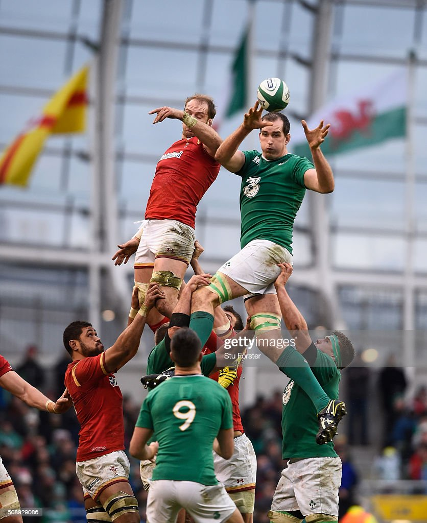 <a gi-track='captionPersonalityLinkClicked' href=/galleries/search?phrase=Devin+Toner&family=editorial&specificpeople=6718607 ng-click='$event.stopPropagation()'>Devin Toner</a> of Ireland wins lineout ball under pressure from Alun Wyn Jones of Wales during the RBS Six Nations match between Ireland and Wales at the Aviva Stadium at Aviva Stadium on February 7, 2016 in Dublin, Ireland.