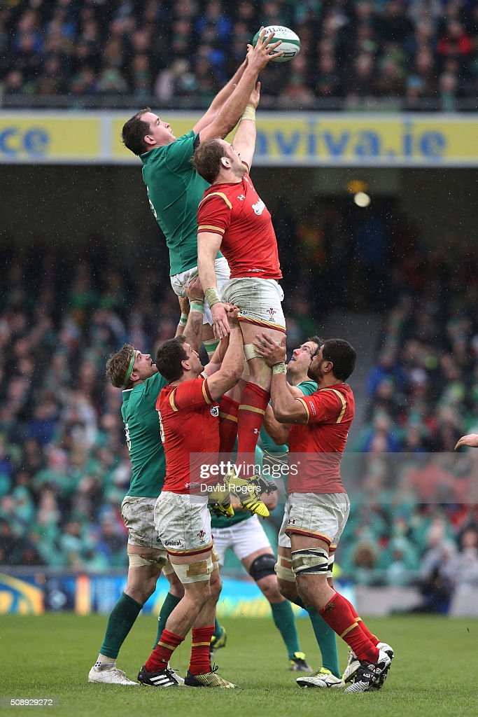 <a gi-track='captionPersonalityLinkClicked' href=/galleries/search?phrase=Devin+Toner&family=editorial&specificpeople=6718607 ng-click='$event.stopPropagation()'>Devin Toner</a> of Ireland wins lineout ball under pressure from Alun Wyn Jones of Wales during the RBS Six Nations match between Ireland and Wales at the Aviva Stadium on February 7, 2016 in Dublin, Ireland.