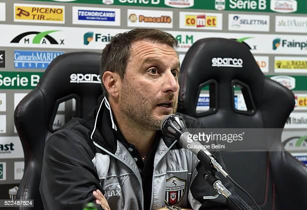 Devis Mangia head coach of Ascoli Calcio during presse conference after the Serie B match between Ascoli Calcio and FC Bari at Stadio Cino e Lillo...