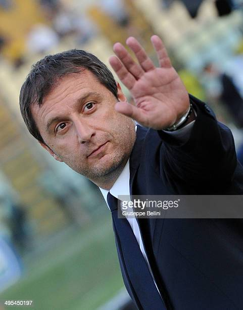 Devis Mangia head coach of Spezia during the Serie B playoff match between Modena FC and AC Spezia at Alberto Braglia Stadium on June 3 2014 in...