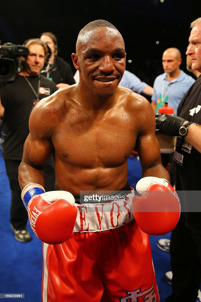 Devon Alexander celebrates a seventh round TKO of Lee Purdy during their IBF Welterweight Title fight at Boardwalk Hall Arena on May 18, 2013 in Atlantic City, New Jersey.