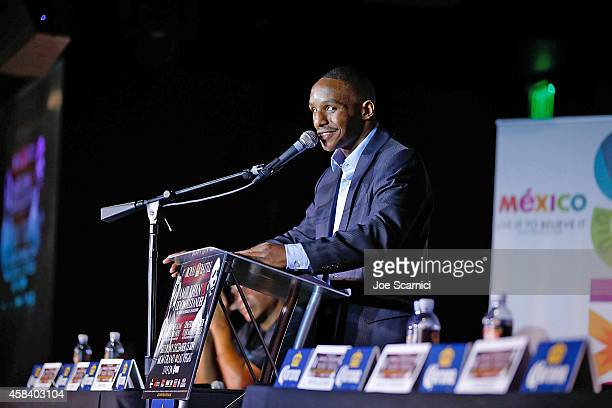 Devon Alexander speaks onstage during the Amir Khan Devon Alexander Fight Announcement at The Conga Room on November 4 2014 in Los Angeles California