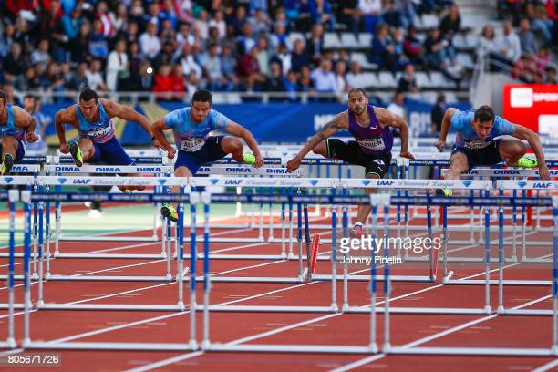 Devon Allen of United States Garfield Darien of France and Sergey Shubenkov Men's 110m Hurdles during the Meeting de Paris of the IAAF Diamond League...