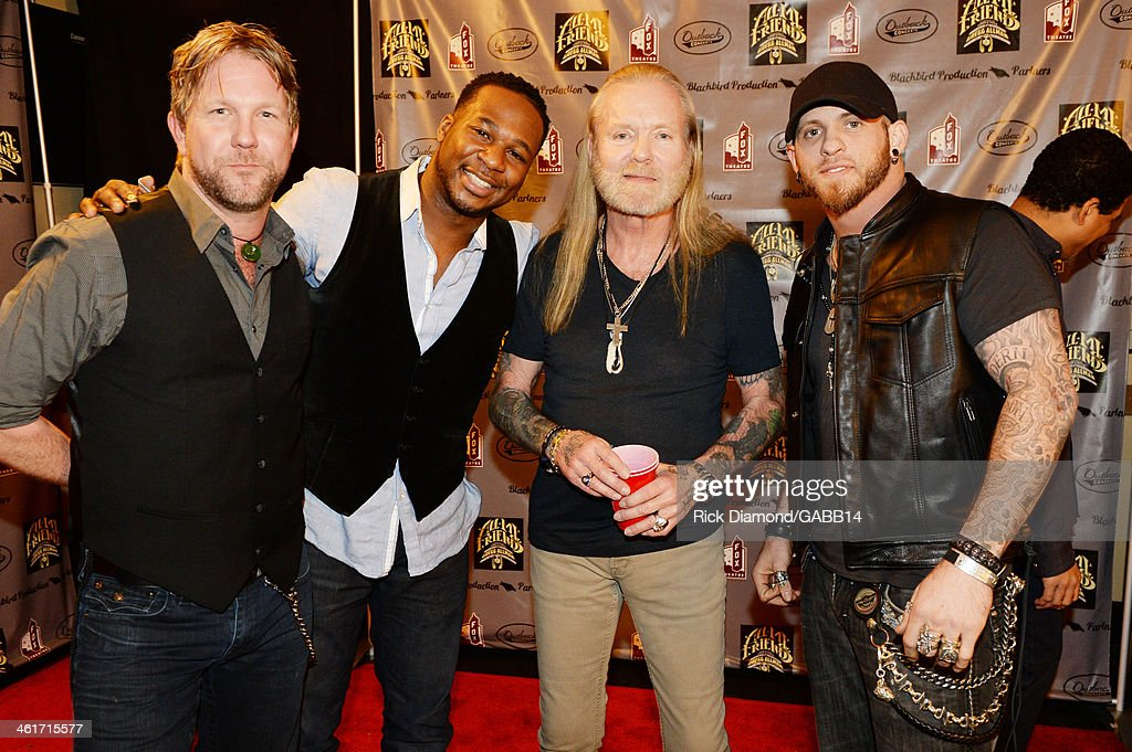 Devon Allman, Robert Randolph, Gregg Allman, and Brantley Gilbert attend All My Friends: Celebrating the Songs & Voice of Gregg Allman at The Fox Theatre on January 10, 2014 in Atlanta, Georgia.