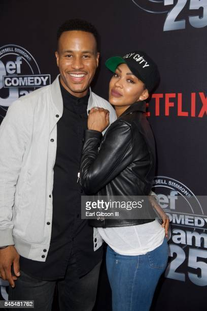 Devon Franklin and Meagan Good attend Nexflix Presents Russell Simmons 'Def Comedy Jam 25' Special Event at The Beverly Hilton Hotel on September 10...