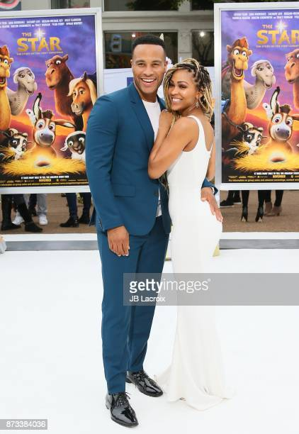DeVon Franklin and Meagan Good attend the premiere of Columbia Pictures' 'The Star' on November 12 2017 in Los Angeles California